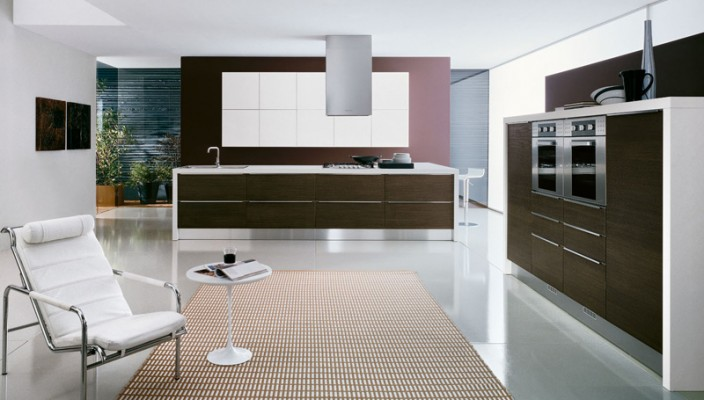 Futuristic Kitchen with a Resting Chair and Table