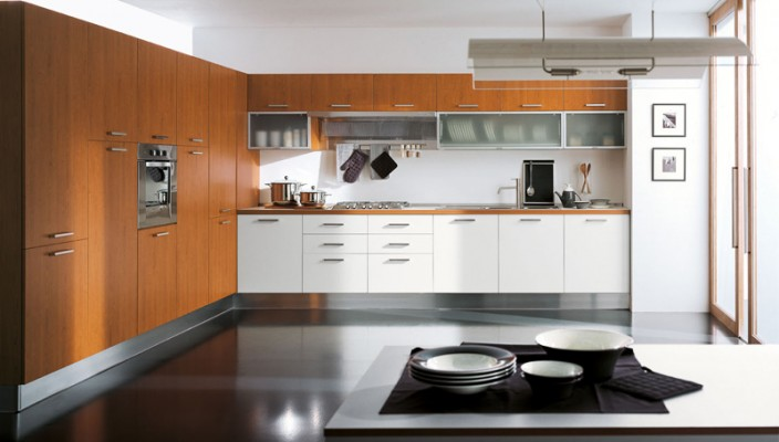 L Shape Wood Finish Kitchen