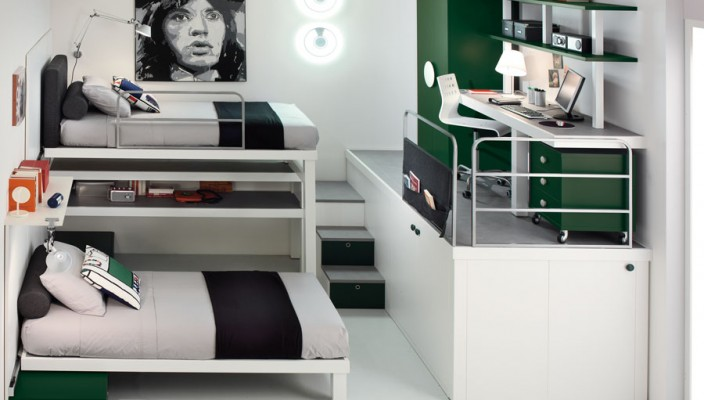 Teen bedroom with forest green details