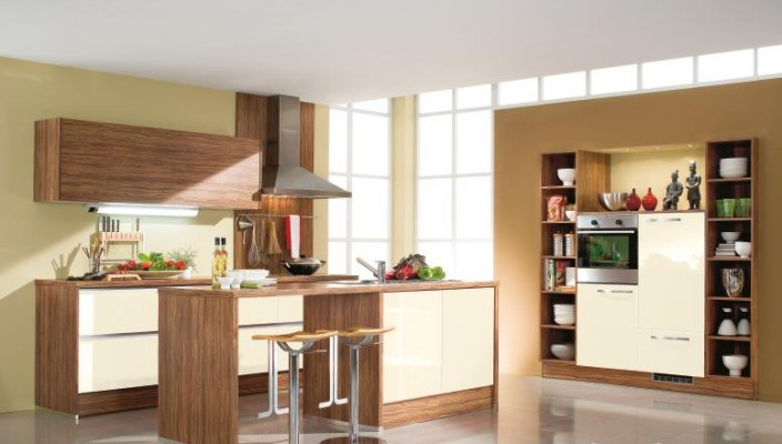 Cream and brown colors complement each other in a kitchen