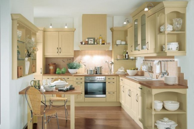 Use cream color and furnishing in your kitchen for a fresh look