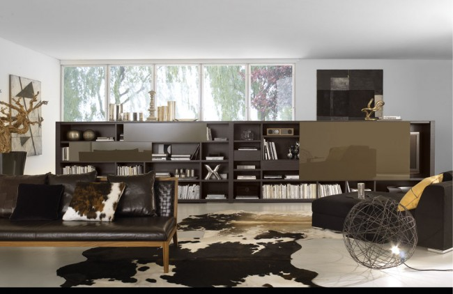 White and dark brown living area