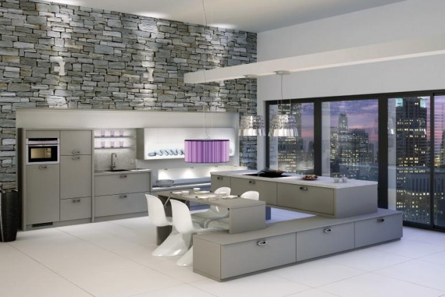 Interiors of a Steel Grey kitchen