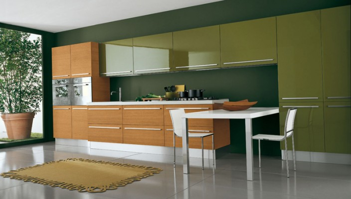 Glossy green kitchen