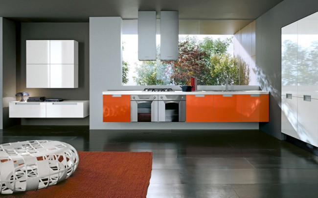 Use little doses of orange to spice up your kitchen