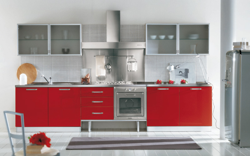 Red and Black Kitchen Cabinets By ARAN Cucine | Kitchen Building