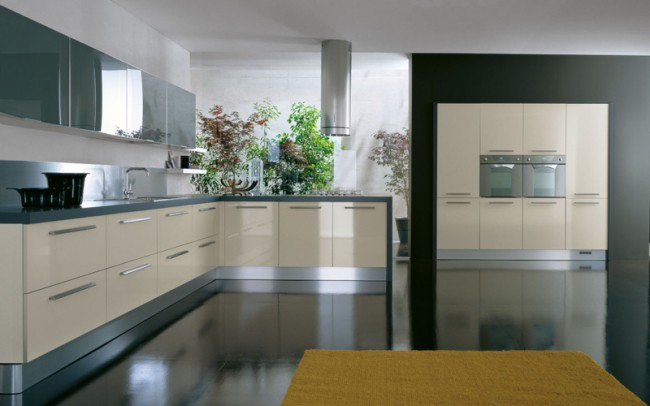 Add steel, laminate, glass in your contemporary kitchen