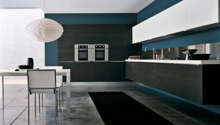 Use blue for stabilizing white and black kitchen