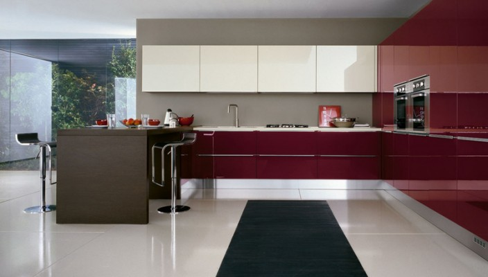 Glossy wine and ecru polymeric Kitchen Design