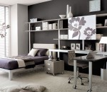 Grey Teen Bedroom with Study Table