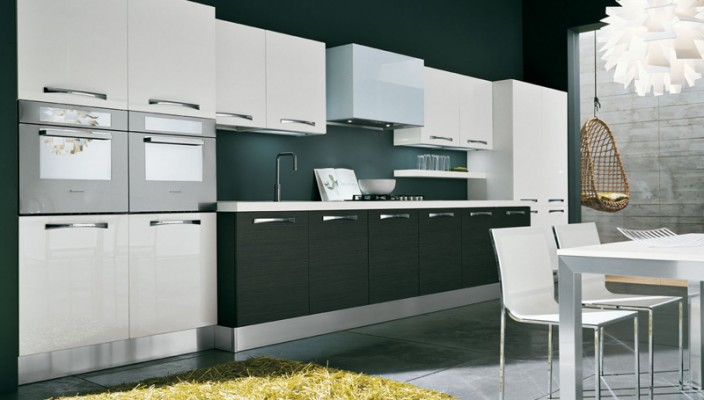Grey oak and glossy white polymeric Kitchen Design