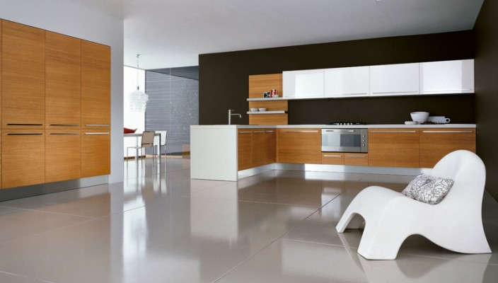 Play down honey oak color by introducing glossy white