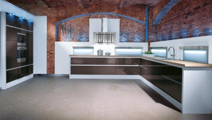 Brick wall style kitchen