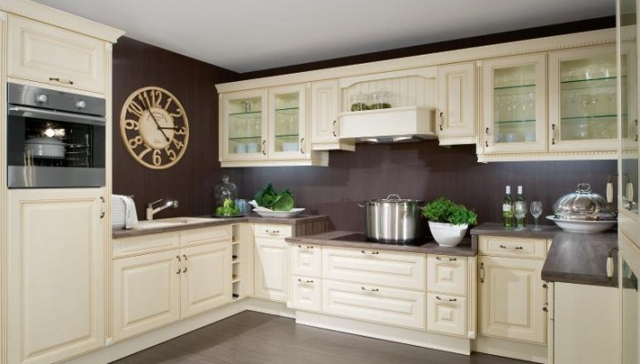 Cream and brown modern kitchen