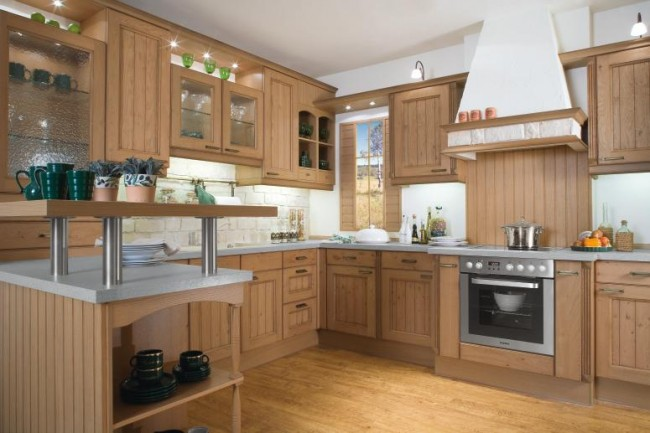 Wood kitchen with chimney