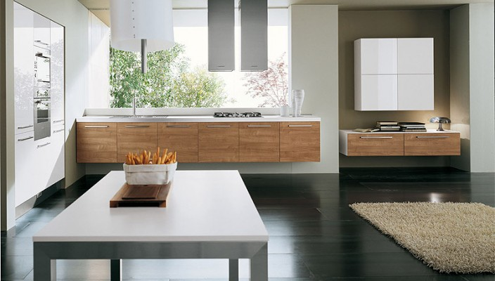Neutral colors go well with light cherry kitchen cabinets