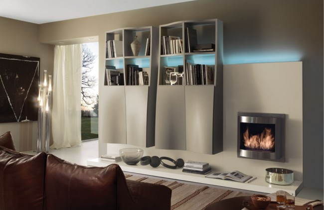 Decorate your living room around a fireplace and bookshelves