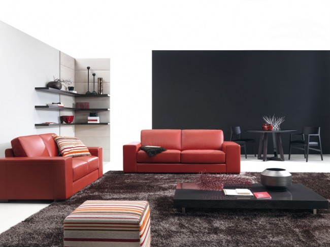 Use red sofa to add attention, driving force and drama to your living room
