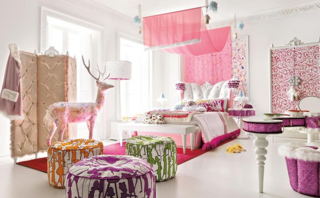 Use lavender color for decorating your kid's luxurious room