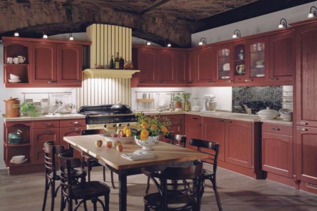 Cherry colored kitchen