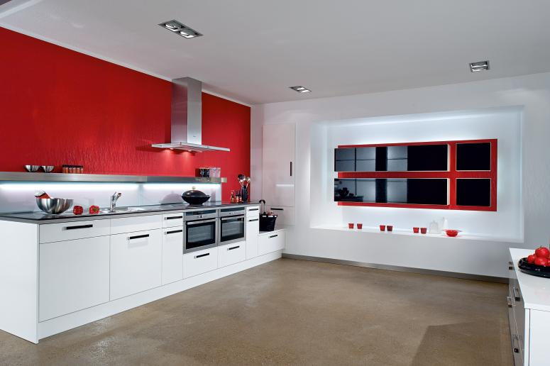 Interior Exterior Plan | Red and White Kitchen Design that ...