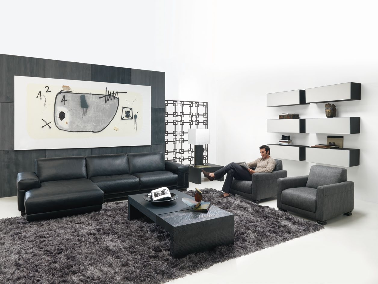 Interior exterior plan the black and white beauty for Nice interior design living room