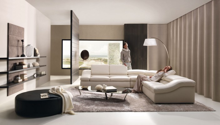 An off-white living room with similar shaded furniture