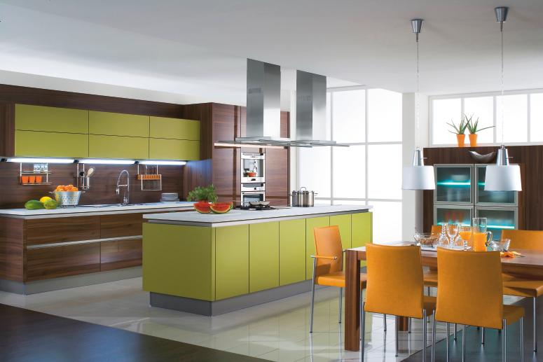 Interior exterior plan colorful and elegant kitchen for Open kitchen designs photo gallery