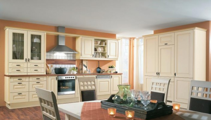 Pastel orange kitchen