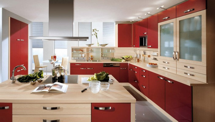 Pia Beige And Burgundy Kitchen Design