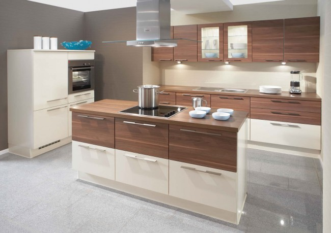 Primo Cream High Gloss Walnut Kitchen Design