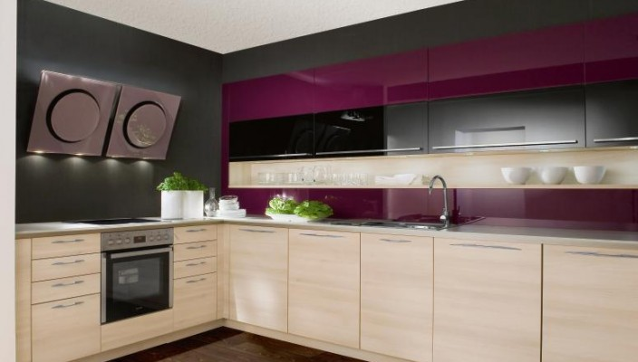 Grey And Purple Themed Kitchen