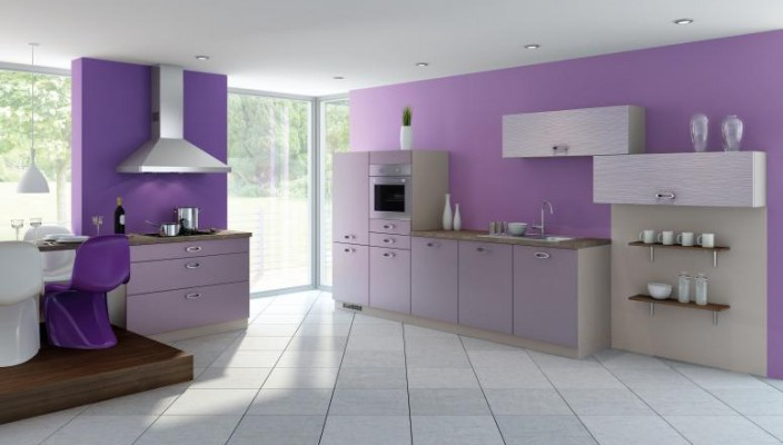 Spacious purple kitchen