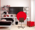 Red Colored Creative Design for Small Teen Bedroom