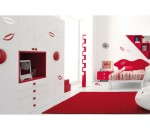 Red and White Teen Bedroom that is also a Bit Naughty