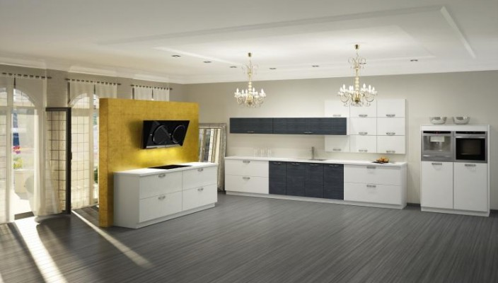 Spacious kitchen with chandeliers
