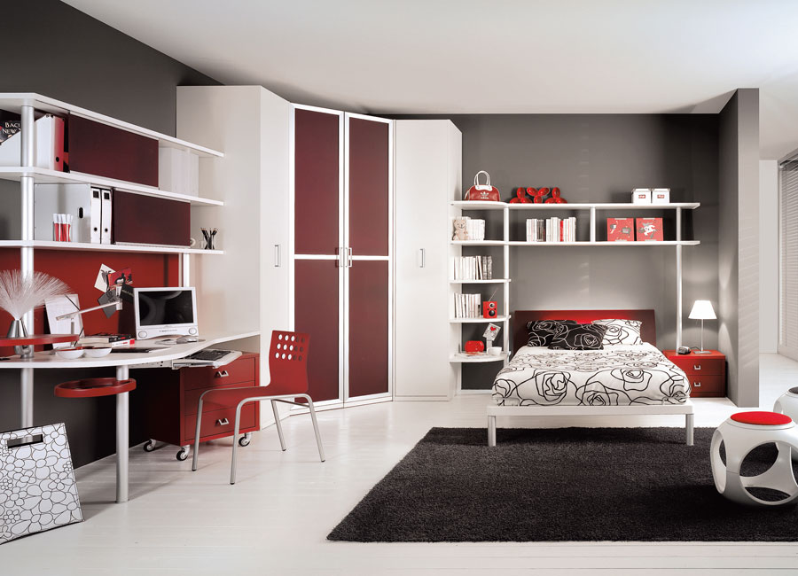 Interior Exterior Plan Blood Red Teen Bedroom