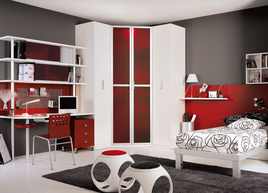 Interior Exterior Plan | Red and grey modern teen room