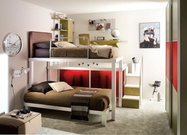 Use bunk beds for your teens sharing a room