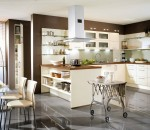 Make best use of high-gloss cream and brown shades in your kitchen