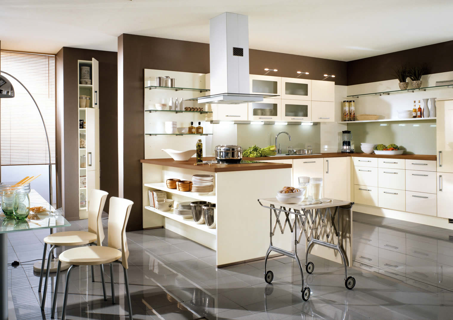 Kitchen Ideas Gloss cream and brown kitchen designs home design regarding kitchen