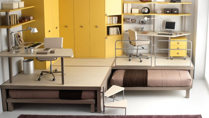 Apply yellow in furniture of your teen's bedroom
