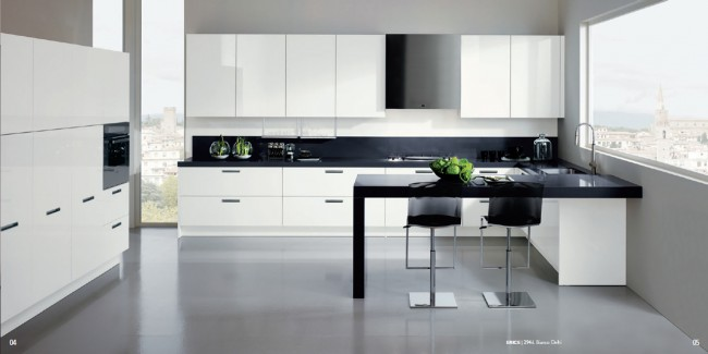 Detailed Kitchen Interior Theme with Built In Handles