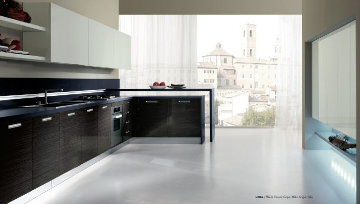 Veneered Kitchen Concept for a Glossy Theme
