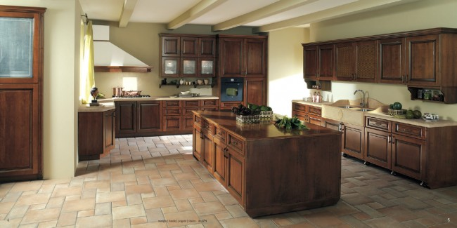 Painting walls of a kitchen in a color combination with cabinets