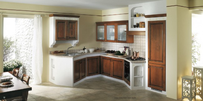 Select best contrasting colors to match your kitchen cabinetry with walls