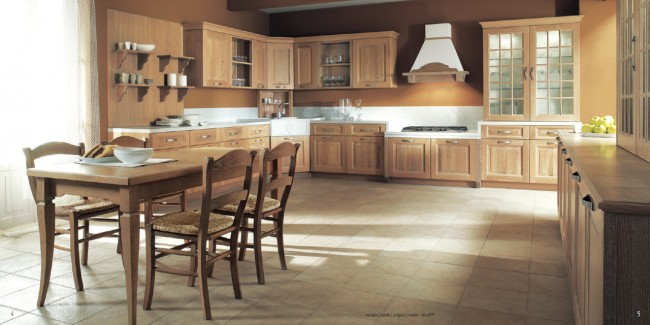 Choose cool natural or trendy colors with brown kitchen furnishing