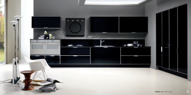 Creative Kitchen Concept with Colored Glass