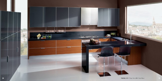 Dual Tone Kitchen Idea with Teak-Finish Base Cabinets