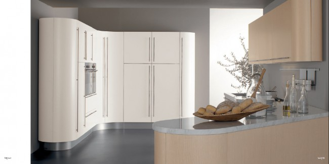 Grey countertops with white kitchen cabinetry